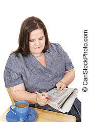 geschäftsfrau, arbeit, -, durchsuchung
