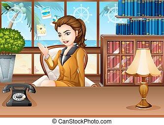 geschäftsfrau, arbeits büro