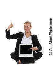 geschäftsfrau, ausstellung, laptop, glücklich