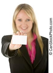 geschäftsfrau, besitz, leere visitkarte