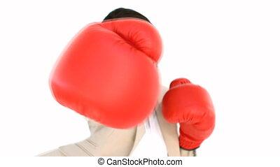 geschäftsfrau, boxen, an, der, fotoapperat