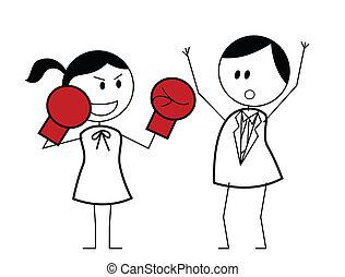 geschäftsfrau, boxer, kämpfen