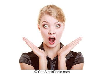 geschäftsfrau, frau, überrascht, schockiert, porträt
