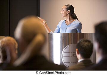 geschäftsfrau, geben, darstellung, an, podium