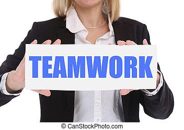 geschäftsfrau, geschäftskonzept, mit, gemeinschaftsarbeit, arbeitend zusammen, in, a, mannschaft