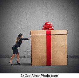 geschäftsfrau, geschenk