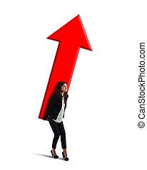 geschäftsfrau, hält, a, groß, arrow., begriff, von, geschäftswachstum, und, erfolg
