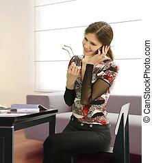 geschäftsfrau, in, büro