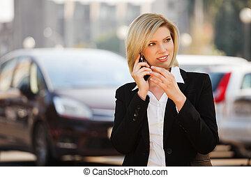 geschäftsfrau, junger, telefon, berufung