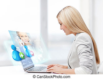 geschäftsfrau, kommunizieren, mit, helpline, bediener