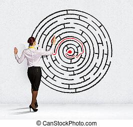 geschäftsfrau, problem, lösen, labyrinth