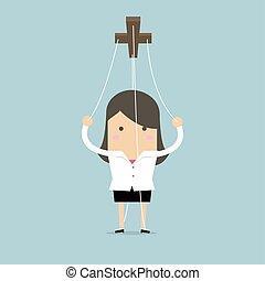 geschäftsfrau, ropes., marionette