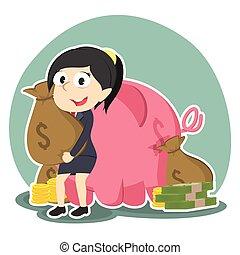 geschäftsfrau, sack, hinten, schweinchen, haltend geld, bank