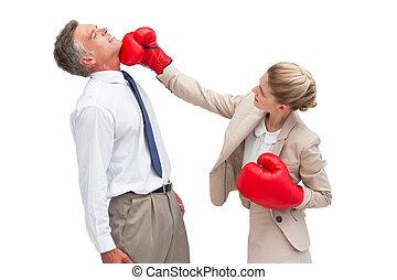 geschäftsfrau, schlagen, sie, co arbeiter