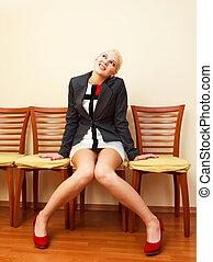 geschäftsfrau, stuhl
