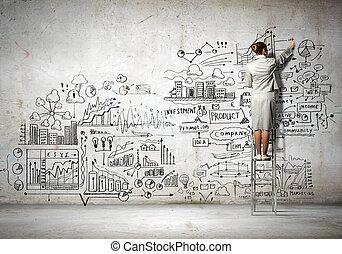 geschäftsfrau, zeichnung, skizze