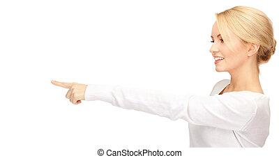 geschäftsfrau, zeigen, sie, finger