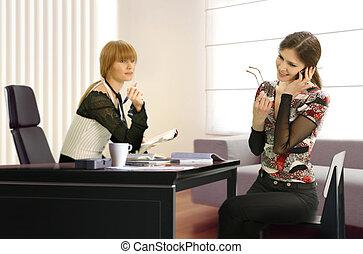 geschäftsfrauen, in, büro