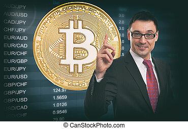 geschäftsidee, concept., währung- austausch, rate., bitcoin.