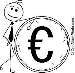 geschäftsillustration, großer mann, lehnend, lächeln, muenze, karikatur, euro
