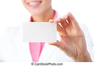geschäftskarte, -, geschäftsfrau, besitz, leer, zeichen., alles, freigestellt, weiß, hintergrund.