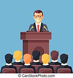 geschäftskonferenz, geschaeftswelt, meeting., mann, an, rostrum, vor, audience., öffentlichkeit sprecher, geben rede, an, konferenz, hall., redner, an, tribun, concepts., modern, wohnung, design, vektor, abbildung