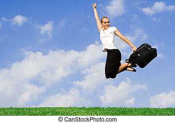 geschäftskonzept, -, geschäftsfrau, springende , mit, erfolg