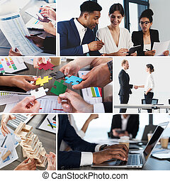 geschäftsleben, collage., begriff, von, gemeinschaftsarbeit, partnerschaft, und, start