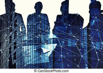 geschäftsmänner, dass, arbeit, zusammen, in, buero, mit, vernetzung, anschluss, effect., begriff, von, gemeinschaftsarbeit, und, partnership., doppelte belichtung
