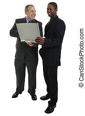 geschäftsmänner, stehende , mit, laptop-computer