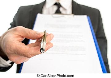 geschäftsmann, übergabe, vertrag, unterschrift