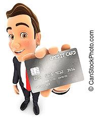geschäftsmann, 3d, karte, kredit