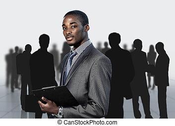 geschäftsmann, afro-american, seine, mannschaft
