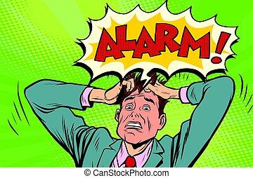 geschäftsmann, alarm, panik