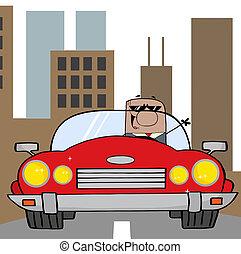geschäftsmann, amerikanische , fahren, auto
