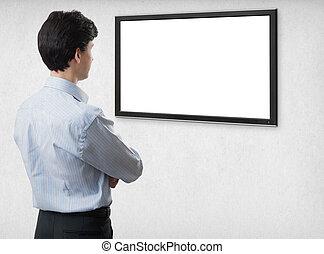geschäftsmann, anschauen, leer, computerbildschirm