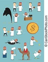 geschäftsmann, arabisch, satz, karikatur, tätigkeiten