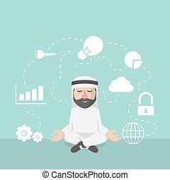 geschäftsmann, arabisch, verstand, entspannung