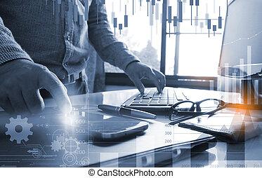 geschäftsmann, arbeitende , mit, computer., arbeitsplatz, schreibarbeit, und, berichte, schaubild, planung