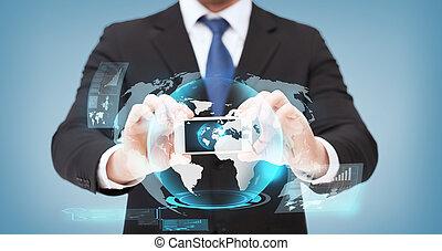 geschäftsmann, ausstellung, smartphone, hologramm, erdball