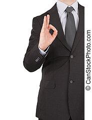geschäftsmann, ausstellung, stimmen zeichen