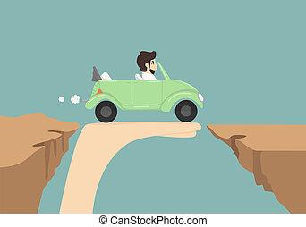 geschäftsmann, auto, fahren, hand