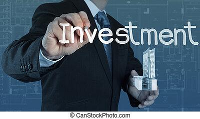 geschäftsmann, begriff, investition, zeigen