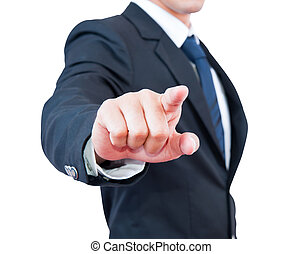 geschäftsmann, Berühren, wahlweise, Fokus,  finger