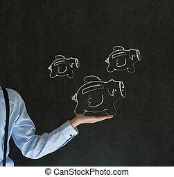 geschäftsmann, besitz, hand, mit, fliegenden geld, sparschwein, in, tafelkreide, auf, tafel, hintergrund
