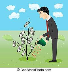 geschäftsmann, bewässerung, dollar, pflanze