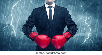 geschäftsmann, boxen, regen
