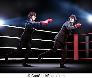 geschäftsmann, boxen, zwei, junger