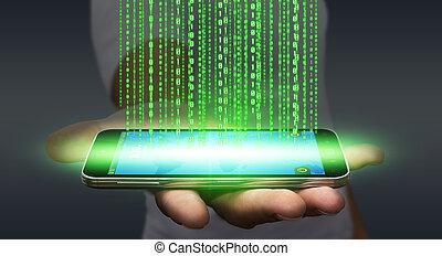 geschäftsmann, downloading, software, auf, seine, handy