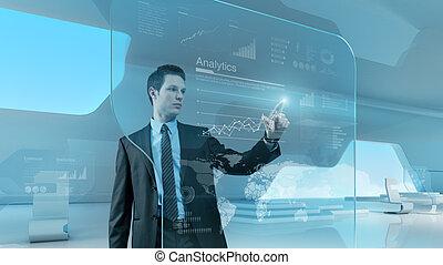geschäftsmann, drücken, schaubild, schnittstelle, zukunft, technologie, touchscreen